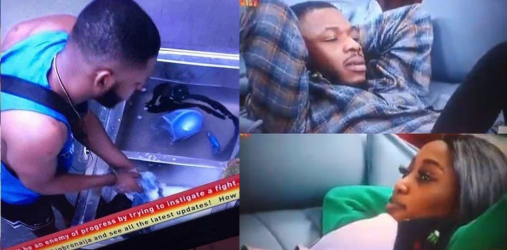 BBNaija 2019: Nigerians react as Frodd washes Esther's underwear in the house (photo)