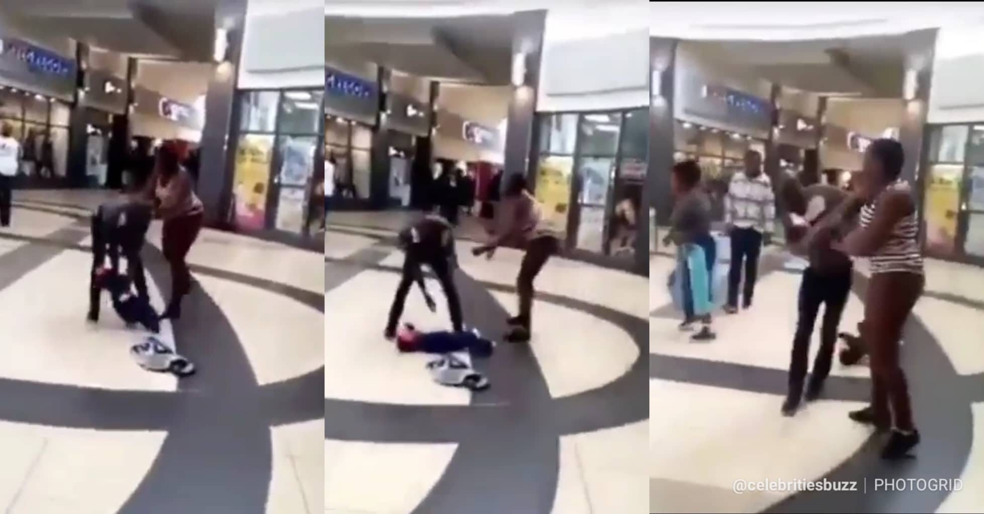(Video):Lady Drops Her Baby To Fight Her Baby Daddy In A Mall In South Africa
