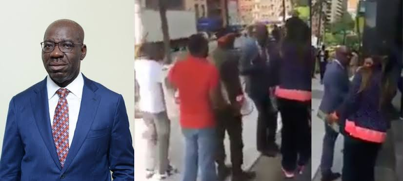 Edo State Governor, Godwin Obaseki Disgraced By Angry Protesters At UNGA Holding In New York